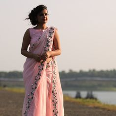 Baby Pink Rose Pure Chiffon Ribbon-Work Saree Beautiful