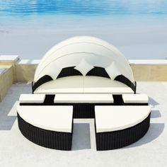 black Poly rattan sun bed with canopy 2in1 Sun Island Black - LovDock.com