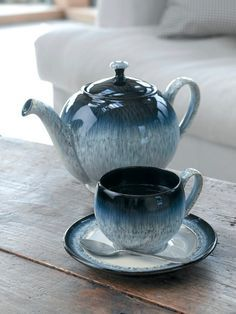 Denby Pottery halo teapot, teacup and saucer