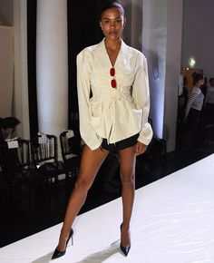 Tina Kunakey at Jean Paul Gaultier Show Fall Winter Haute Couture Fashion Week, Paris July, What To Wear Today, How To Wear, Tina Kunakey, Dress Outfits, Fashion Outfits, Dapper Men, Feminine Energy, Black White Fashion, Haute Couture Fashion
