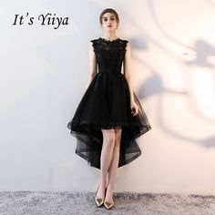 It s YiiYa Sex Lace Backless Illusion High-low Flowers Zipper Tea Length Formal  Dresses Party f41f03f1c76a