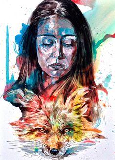 """""""Nice and the Fox""""  50x70 cm.  Acrylic on canvas  2015"""