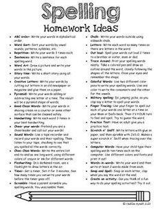 FREE Spelling Homework Ideas( or use for Word Work/Spelling Center)