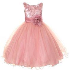 Kids Dream Little Girls 6 Rose Sequin Double Mesh Dress ~ size 4t-14 ~ $35-$45