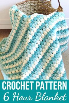 This mock crochet granny stripe blanket designed with Bernat Blanket yarn will be your new favorite baby shower gift. This free afghan is an easy. Crochet Baby Blanket Free Pattern, Easy Crochet Blanket, Crochet For Beginners Blanket, Baby Afghan Crochet, Manta Crochet, Granny Square Crochet Pattern, Chunky Crochet, Afghan Crochet Patterns, Crochet Granny