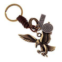 Accesoriu retro pentru breloc, din aliaj, cu pandantiv in forma de vultur, cu snur de piele