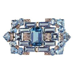 Cartier Art Deco Aquamarine Diamond Brooch