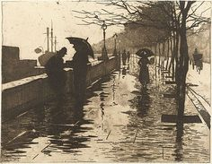 Thames Embankment, 1890, etching by Willem Witsen