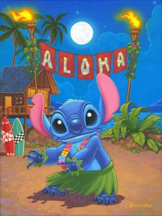 Hula Stitch 12x9 Original