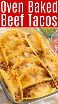 You have to try these Oven Baked Beef Tacos for dinner. So easy to make, made with ground beef. with ground beef dinner Oven Baked Beef Tacos Tex Mex Essen, Oven Baked Tacos, Baked Tacos Recipe, Baked Chicken Tacos, Taco Recipe Beef, Easy Taco Recipe, Taco Recipe For Kids, Easy Taco Bake, Ground Beef Recipes For Dinner
