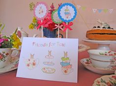 easter tea party - 6 Friends for Tea Party Invitations by Bumpkin on Etsy, €10.00