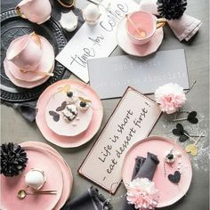 Flatlay Inspiration · via Custom Scene · Black and pink styled tabble layout with signs. Rosa Desserts, Pink Desserts, Party Desserts, Design Set, Dessert Design, Flat Lay Photography, Coffee Photography, Pink Photography, E Commerce