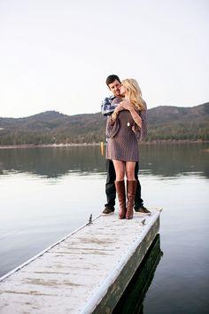 Big Bear winter engagement photos, lake, dock