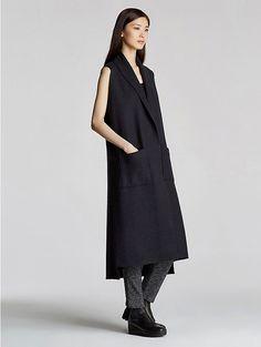 EILEEN FISHER:  Kimono Vest in Boiled Wool - Fashion Fantasy - Darkness