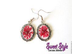 Купить Цветочные серьги - комбинированный, серьги, сережки, цветы, натуральные материалы, натуральные цветы, смола