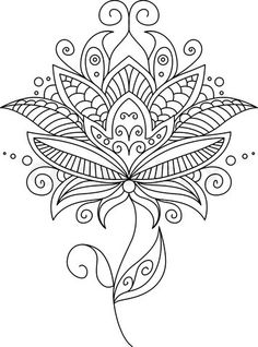 Pretty ornate delicate floral design element vector - by Seamartini on VectorStock® Mandala Painting, Dot Painting, Mandala Art, Mandala Tattoo, Pattern Coloring Pages, Coloring Book Pages, Arte Mehndi, Dibujos Zentangle Art, Mandala Coloring
