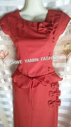Myanmar Dress Myanmar Traditional Dress, Traditional Dresses, Casual Wear, Casual Dresses, Myanmar Dress Design, Fabric Embellishment, Dress Designs, Kurtis, Designer Dresses