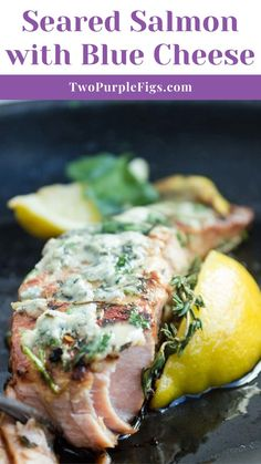 This easy recipe for seared salmon with blue cheese topping is proof that preparing seafood does not need to be complicated. Try this simple one-skillet recipe once and I guarantee, it will become a go-to fish dinner soon! Best Seafood Recipes, Healthiest Seafood, Salmon Recipes, Fish Recipes, Veggie Recipes, Lunch Recipes, Easy Cheap Dinner Recipes, Delicious Dinner Recipes, Easy Healthy Dinners