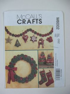Christmas Craft Sewing Patterns McCalls 6002 Stockings Wreath Tree Garland Orn.. #McCall