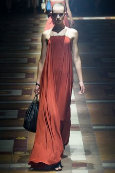 Spring 2015 Ready-to-Wear - Lanvin  -- Rust red maxi dress in swingy silk held up by thin, double gold straps.