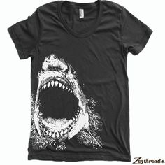 Womens SHARK tee T Shirt american apparel S M L XL by ZenThreads, $18.00