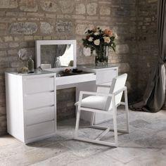 moderner design schminktisch weiss holz aufklappbarer spiegel casabella