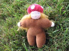 Mushroom Hat Doll.   #Etsy #Waldorf #Girl #Mushroom #Doll