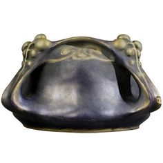 "Paul Dachsel  - For Amphora - Bowl. Iridescent Glazed & Gilt Pottery. Turn-Teplitz, Bohemia. Circa 1901-1902. 4-3/8"" x 9""."