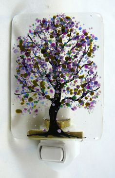 Fused Glass Purple Flowered Night Light - draw the branches of a tree in glass line, and add frit as leaves. Loving this.