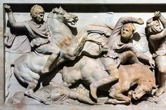 Alexander at the Battle of the Issus against the Persians. A detail from the truly incredible Alexander Sarcophagus from the Royal Necropolis of Sidon