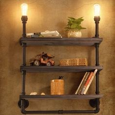Practical 2 Light Three Layer Bookshelf Pipe Wall Lamp