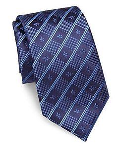 Charvet Striped Silk Tie - Navy