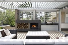 Get cooking on your awesome outdoor kitchen design ideas. See more ideas about outdoor kitchen design ideas, outdoor kitchen design plans, outdoor kitchen design for small space. Outdoor Areas, Outdoor Rooms, Outdoor Dining, Outdoor Furniture Sets, Outdoor Kitchens, Patio Dining, Dining Set, Modern Outdoor Fireplace, Alfresco Designs