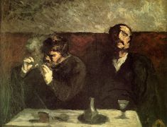 Two Men Sitting with a Table, or the Smokers - Honore Daumier