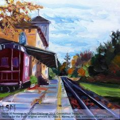 "Day /30 Paintings in 30 Days Challenge 2013, Connecticut Treasures, ""Waiting for the Train"" original artwork by Linda S. Marino, oil, 6x6, www.lindasmarinoart.com"