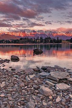 Puesta de sol en Queenstown, Nueva Zelanda