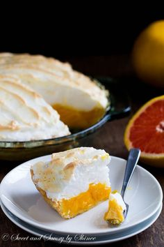 Smooth, sweet and tangy grapefruit filling in flaky, buttery pie crust and topped with melt-in-your-mouth fluffy meringue! Step by step photos are included!