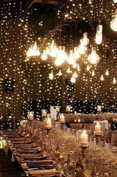 Wedding Lighting Ideas for Rustic Country Wedding Reception wedding lights 20 Creative Ideas for Wedding Reception Lighting Perfect Wedding, Dream Wedding, Wedding Day, Magical Wedding, Wedding Table, Wedding Reception Lighting, Wedding Receptions, Lighting For Weddings, Reception Rooms