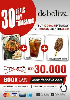 "Book your ""Chicken Teriyaki+kiwi Tea+Vanilla Chocolate Krispies"" for just Rp 30.000,- at www.deboliva.com Booking Date: 3-25 Des 2013 #deboliva #bolivapromo #instaboliva #cafe #lowfat #icecream #surabaya #solocity #theparkmall #sutos #gubeng #marina #cito #waterplace #citraniaga"