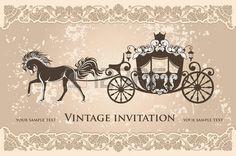 principessa vintage: carrozza reale a cavallo sullo sfondo del grunge