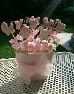 cookies on a stick for center piece? Girl Baby Shower Decorations, Baby Shower Themes, Baby Boy Shower, Baby Shower Gifts, Baby Gifts, Shower Ideas, Baby Shower Parties, Shower Party, Baby Showers