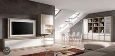 Salón comedor de estética moderna con composición de muebles para la televisión y con estantería de gran capacidad con estantes, puertas y cajones