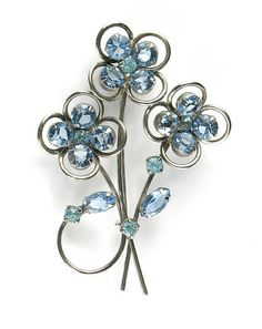 Blue and Aqua Rhinestone Flower Motif Brooch available from Anna's Vintage Jewelry on Ruby Lane