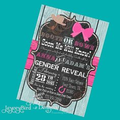 Boots or Bows Western Gender Reveal Invitation.