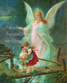 Vintage image of an Angel on a bridge by FrugalDownloads on Etsy