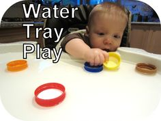 Water in high chair tray makes for a fun activity while I prep dinner