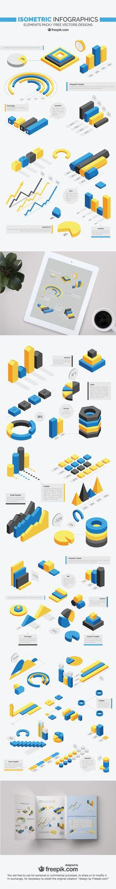 Download an awesome set of free isometric infographics!