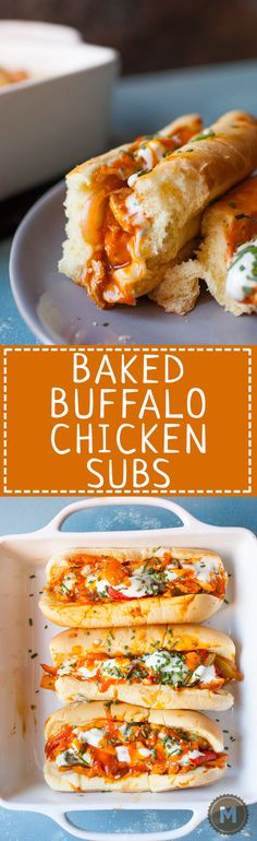 Baked Buffalo Chicken Subs: These have some of my favorite flavors and are easy to toss together either for dinner or for a hearty game day appetizer. Spicy and cheesy! | Macheesmo.com