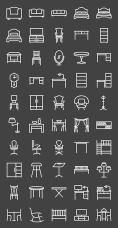 50 Furniture Line Inverted Icons by IconBunny on Creative Market More