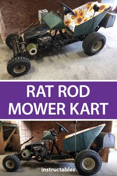 Gokart Plans 326722147967461722 - Build a rat rod go-kart from salvaged parts from an old lawn mower and a wheelbarrow. Source by princefreedom Welding Projects, Fun Projects, Welding Art, Rat Rod Build, Homemade Go Kart, Homemade Tractor, Go Kart Plans, Diy Go Kart, Build A Go Kart